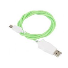 Кабель USB - micro светящийся (зеленый)