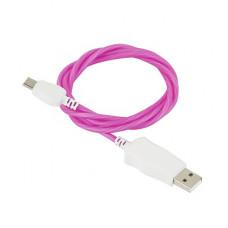 Кабель USB - micro светящийся (фиолетовый)