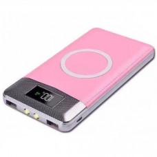 Аккумулятор с беспроводной зарядкой QI Wireless Charger Black (розовый)