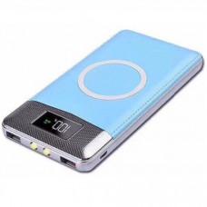 Аккумулятор с беспроводной зарядкой QI Wireless Charger Black (голубой)